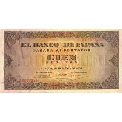 España 100 Ptas. 1938. EBC+/SC-. (Nuevo con lev.doblez). (Serie A-Casa del Cordon). EDF. D33 - PIK. 113a