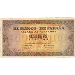 España 100 Ptas. 1938. EBC-/EBC. (Muy nuevo.Lev.doblez). (Serie C-Casa del Cordon). EDF. D33 a - PIK. 113a