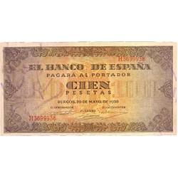 España 100 Ptas. 1938. EBC+. (Muy nuevo con doblez). (Serie H-Casa del Cordon). EDF. D35 a - PIK. 113a