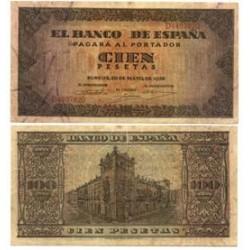 España 100 Ptas. 1938. MBC. (Planchado). (Serie D-Casa del Cordon). EDF. D35 a - PIK. 113a
