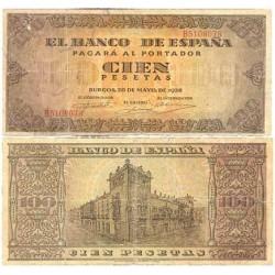 España 100 Ptas. 1938. BC+. (Roturitas.Planchado). (Serie B-Casa del Cordon). PIK. 113a - EDF. D33