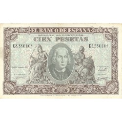 España 100 Ptas. 1940. MBC. (Dobleces.Lev.planchado). (Serie G-Colon). EDF. D39 a - HG. 486
