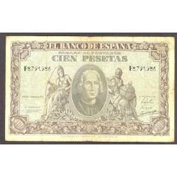 España 100 Ptas. 1940. BC+/MBC-. (Dolez). (Serie G-Colon). PIK. 118 - HG. 486