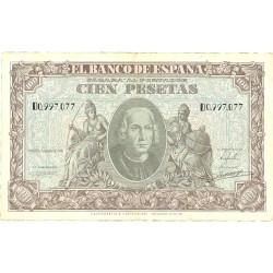 España 100 Ptas. 1940. MBC-. (Doblez.Entero). (Serie D-Colon). PIK. 118 - HG. 486
