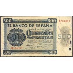España 500 Ptas. 1936. MBC. (Doblez y agujeritos de polilla en margen pero muy bonito). (Serie B-Cat.de Salamanca). PIK. 102a