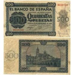 España 500 Ptas. 1936. MBC-. (Pqñas roturitas por doblez.Sin maniplar). (Serie B-Cat.de Salamanca). EDF. D23a - PIK. 102a