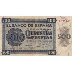 España 500 Ptas. 1936. MBC-. (Entero.Doblez). (Serie A-Cat.de Salamanca). EDF. D23 - PIK. 102a