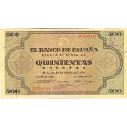 España 500 Ptas. 1938. EBC-. (Entero.Muy bonito). (Serie A-Cat.de Santiago). EDF. D34 - PIK. 114a