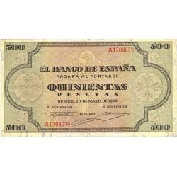 España 500 Ptas. 1938. MBC/MBC+. (Doblez). (Serie A-Cat.de Santiago). EDF. D34 - PIK. 114a