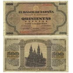 España 500 Ptas. 1938. MBC+. (Dos puntitos de aguja). (Serie A-Cat.de Santiago). EDF. D34 - PIK. 114a