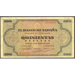 España 500 Ptas. 1938. MBC+. (Dobleces.Muy bonito). (Serie A-Cat.de Santiago). EDF. D34 - PIK. 114a