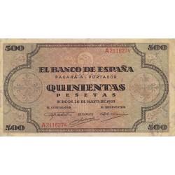 España 500 Ptas. 1938. MBC/MBC+. (Doblez. Entero). (Serie A-Cat.de Santiago). EDF. D34 - PIK. 114a