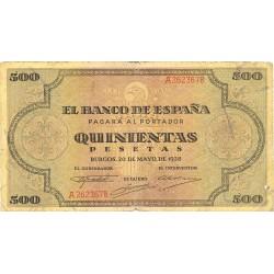 España 500 Ptas. 1938. MBC-. (Pqña.roturita en margen). (Serie A-Cat.de Santiago). EDF. D34 - PIK. 114a
