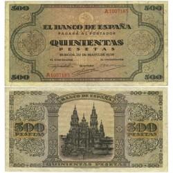 España 500 Ptas. 1938. MBC+. (Doblez. Muy bonito). (Serie A-Cat.de Santiago). EDF. D34 - PIK. 114a