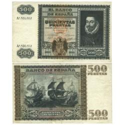 España 500 Ptas. 1940. MBC. (Doblez.Planchado.Bonito). (Serie A-Juan de Austria). EDF. D40 - PIK. 119a