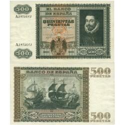 España 500 Ptas. 1940. MBC+. (Muy nuevo con doblez.Lev.planchado.Conserva apresto..Precioso). (Serie A-Juan de Austria). EDF.