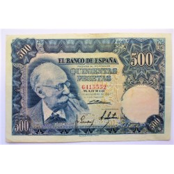 España 500 Ptas. 1951. MBC. (Doblez.Con su apresto.Bonito). (Sin Serie-Benlliure). EDF. D61 - PIK. 142a. (Numeracion segun est