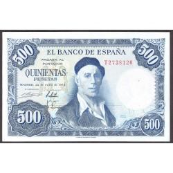 España 500 Ptas. 1954. EBC+. (Nuevo con muy lev.doblez y todo su apresto original). (Serie T-Zuloaga). EDF. D69 b - PIK. 148a