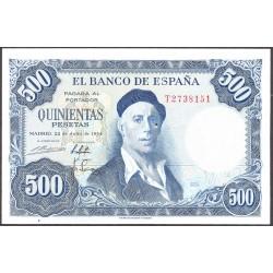 España 500 Ptas. 1954. SC. (Totalmente nuevo con muy lev. rugosidad del propio papel). (Serie T-Zuloaga). EDF. D69 b - PIK. 14