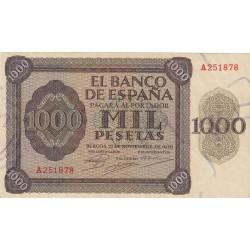 España 1000 Ptas. 1936. MBC+. (Entero.Doblez.Lev.planchado.Muy bonito). (Serie A-Pte.Alcantara). EDF. D24 - PIK. 103a