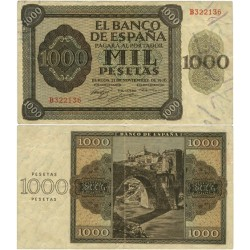 España 1000 Ptas. 1936. MBC/MBC+. (Dobleces.Planchado.Entero). (Serie B-Pte.Alcantara). EDF. D24 - PIK. 103a