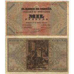 España 1000 Ptas. 1938. MBC. (Doblez.Planchado.Entero y bonito). (Serie A-San Agustín). EDF. D35 - PIK. 115a