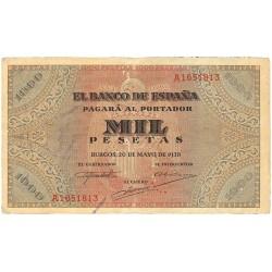 España 1000 Ptas. 1938. MBC. (Doblez). (Serie A-San Agustín). EDF. D35 - PIK. 115a
