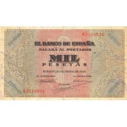 España 1000 Ptas. 1938. MBC/MBC+. (Doblez.Lev.planchado.Muy bonito). (Serie A-San Agustín). EDF. D35 - PIK. 115a