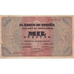 España 1000 Ptas. 1938. MBC-. (Doblez. Entero). (Serie A-San Agustín). EDF. D35 - PIK. 115a