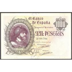 España 1000 Ptas. 1940. Octubre. MBC+/EBC-. (Doblez.Planchado.Muy bonito). (Carlos I). EDF. D46 - PIK. 125a