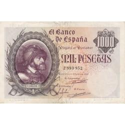 España 1000 Ptas. 1940. Octubre. MBC+/EBC-. (Entero con doblez.Lev.planchado.Muy bonito). (Carlos I). EDF. D48 - PIK. 126a
