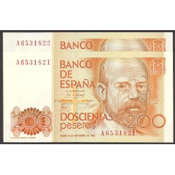 España 200 Ptas. 1980. SC. (Serie A-PAREJA correlativa-(Clarin). EDF. E6 a - PIK. 156