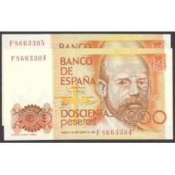 España 200 Ptas. 1980. SC. (Serie F-PAREJA correlativa-(Clarin). EDF. E6 a - PIK. 156