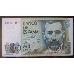 España 1000 Ptas. 1979. SC. (Serie T - D-(Galdos). EDF. E3 a - PIK. 158. (Nº T 3288009 D)