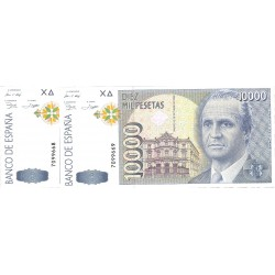 España 10000 Ptas. 1992. SC. (Sin Serie-PAREJA Correlativa-(J.Carlos). EDF. E11