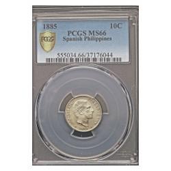 España 10 Ctvo.Peso. 1885. Manila. AG. 2,5gr. Ø18mm. PCGS. (MS66. Todo su tono y brillo originales). (Pcgs/ 37176044). KM. 598.