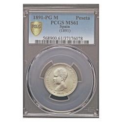 España 1 Ptas. 1891. *--*91-(1ª *anepigrafa). Madrid. PGM. AG. 5gr. Ø23mm. PCGS. (MS61)-(SC-/SC)(Su tono original). (Pcgs/ 371