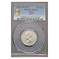 España 1 Ptas. 1891. *--*91-(1ª *anepigrafa). Madrid. PGM. AG. 5gr. Ø23mm. PCGS. (MS62)-(SC-/SC)-(Tono original). (Pcgs/ 37176