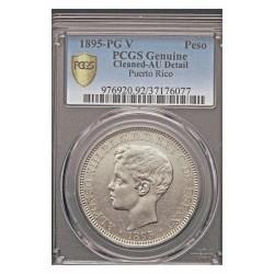 España 1 Pesos. 1895. P.Rico. PGV. AG. 25gr. Ø37mm. PCGS. (AU Detailles. Conserva parte de su brillo.Lavado.Muy bonito). (Pcgs/