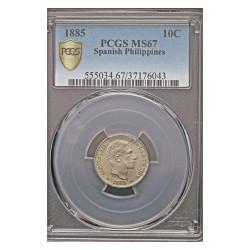 España 10 Ctvo.Peso. 1885. Manila. AG. 2,5gr. Ø18mm. PCGS. (MS67. Todo su tono y brillo originales). (Pcgs/ 37176043). KM. 598.