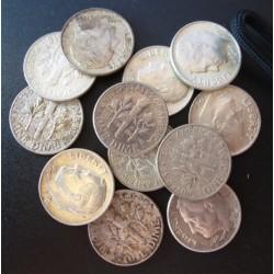 Usa LOTE. 1964. Filadelfia. AG. 30gr. Ley:0,900. (12 Monedas). (12 Monedas de 1 Dime $--J.R.Sinnock). Ø24mm. EBC. KM. 195