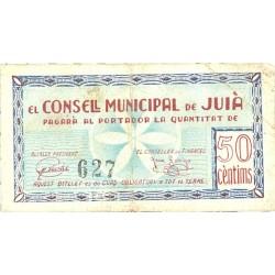 España 50 Cts. 1937. JUIA-(Gi). MBC+/EBC-. (Doblez). (Consejo). RARO/A. TU. 1472 - LGC. 803 B