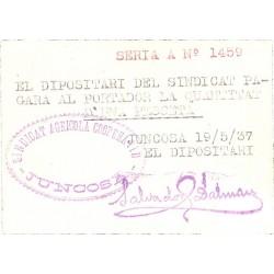 España 1 Ptas. 1937. JUNCOSA de les Garrigues. SC/SC-. (Consejo). EXTR.RARISIMO/A. y mas en esta conservación. TU. 1287 c - L