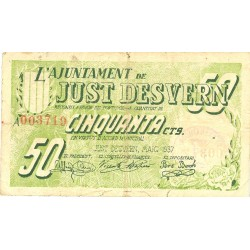 España 50 Cts. 1937. JUST DESVERN.-(St.)-(B). MBC-. (Ayuntamiento-Serie A). TU. 1485 - LGC. 807 A