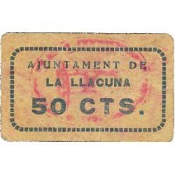 España 50 Cts. 1937. LLACUNA.-LA-(B). MBC+. (Cartoncillo). (Ayuntamiento). RARO/A. TU. 1500 - LGC. 839 C