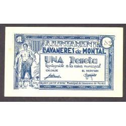 España 1 Ptas. 1937. LLAVANERES DE MONTALT-(B). SC-. (Nuevo con lev.marquitas). (Ayuntamiento). TU. 1528 a - LGC. 847 B
