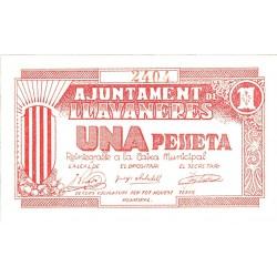 España 1 Ptas. 1937. LLAVANERES-(B). SC-. (Nuevo con lev.marquita). (Ayuntamiento). ESCASO/A. TU. 1526 - LGC. 846 B