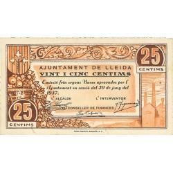 España 25 Cts. 1937. LLEIDA-(L). EBC+. (Nuevo con lev.doblez). (Ayuntamiento). TU. 1538 - LGC. 849 A