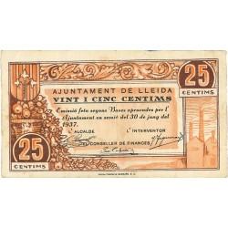 España 25 Cts. 1937. LLEIDA-(L). MBC. (Doblez). (Ayuntamiento). TU. 1538 - LGC. 849 A