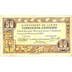 España 50 Cts. 1937. LLEIDA-(L). MBC-/MBC. (Doblez). (Ayuntamiento). TU. 1537 - LGC. 849 B